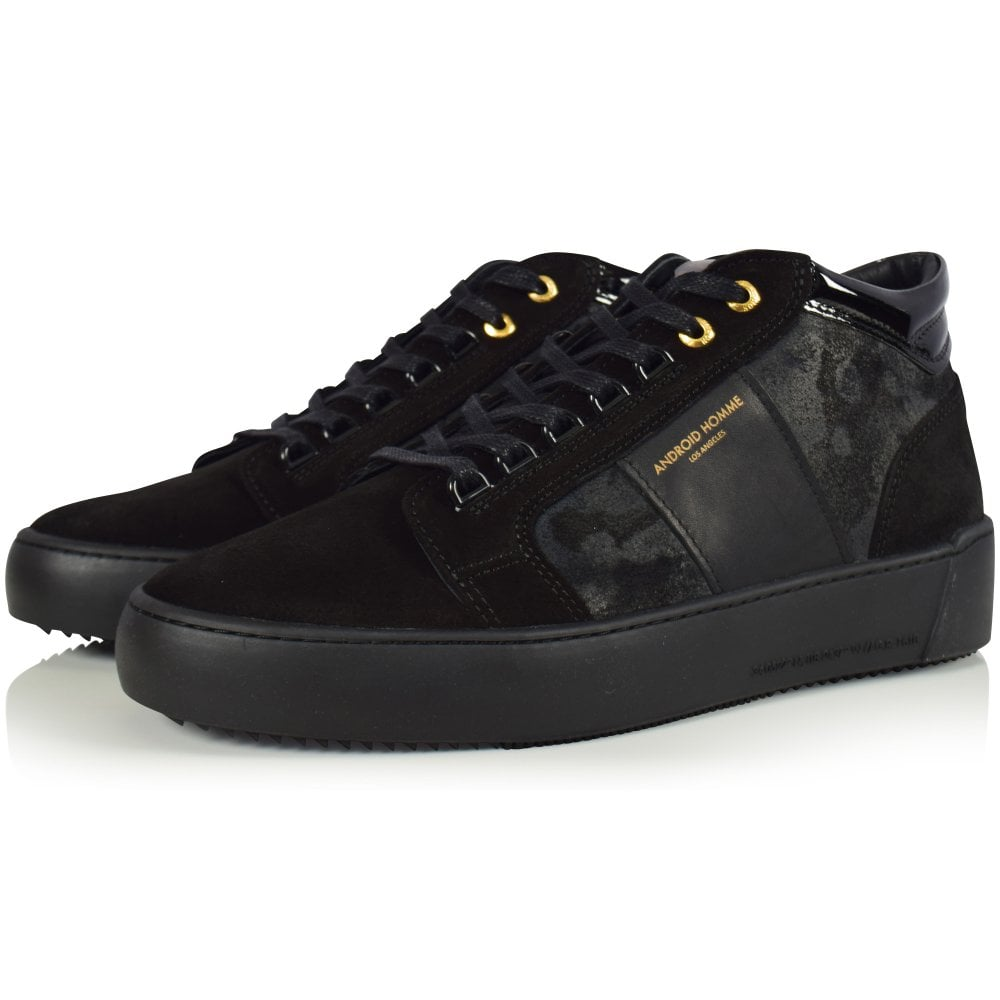 Android Homme Black Camo Suede Propulsion Mid Trainers Men From Brother2brother Uk