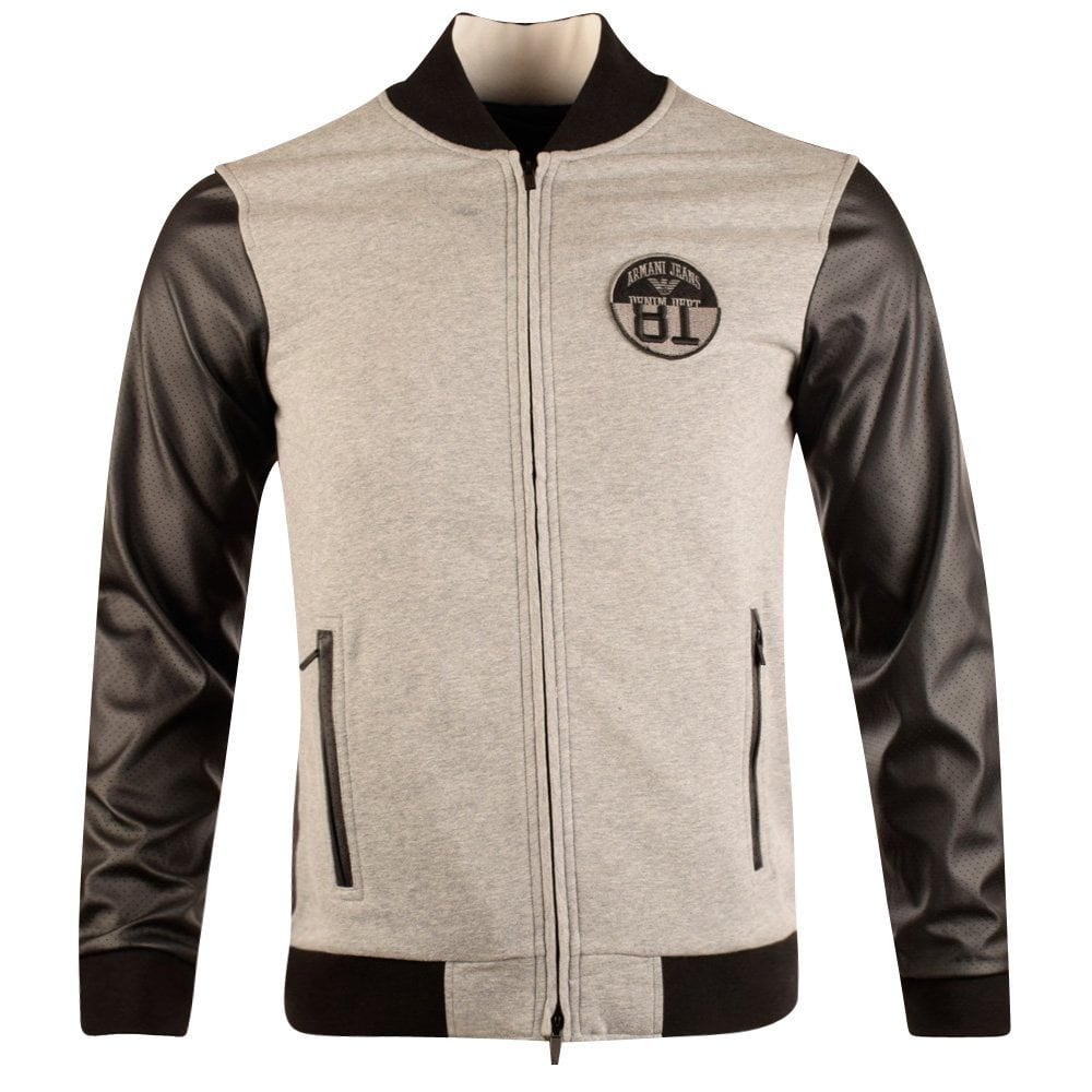 many fashionable nice cheap multiple colors Armani Jeans Grey Leather Sleeves Bomber Jacket