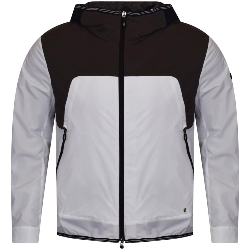 65942e9d BOSS ATHLEISURE Hugo Boss Green 'Jonto' White/Grey Hooded Jacket ...