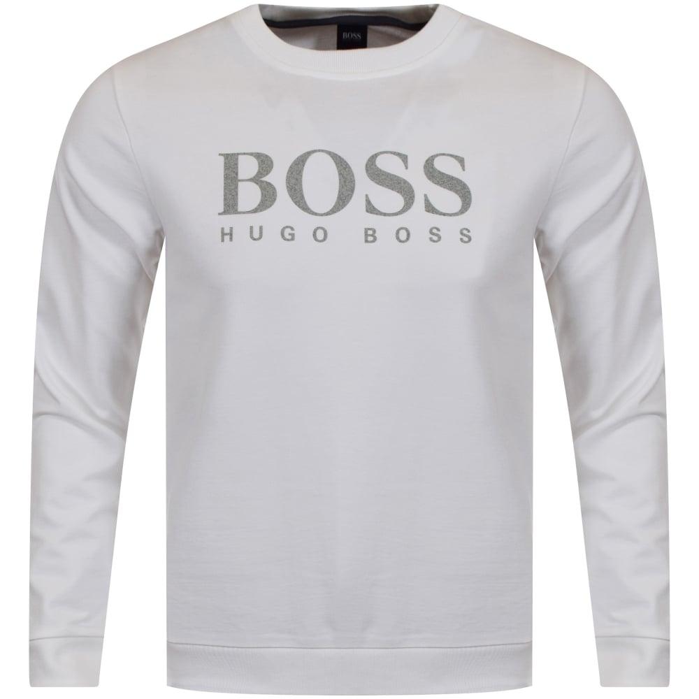a10a3e384 HUGO BOSS Black Crew Neck Logo Sweatshirt Blue Hugo Boss Logo Sweatshirt: HUGO  BOSS Hugo Boss White/Grey Large Text Logo Sweatshirt