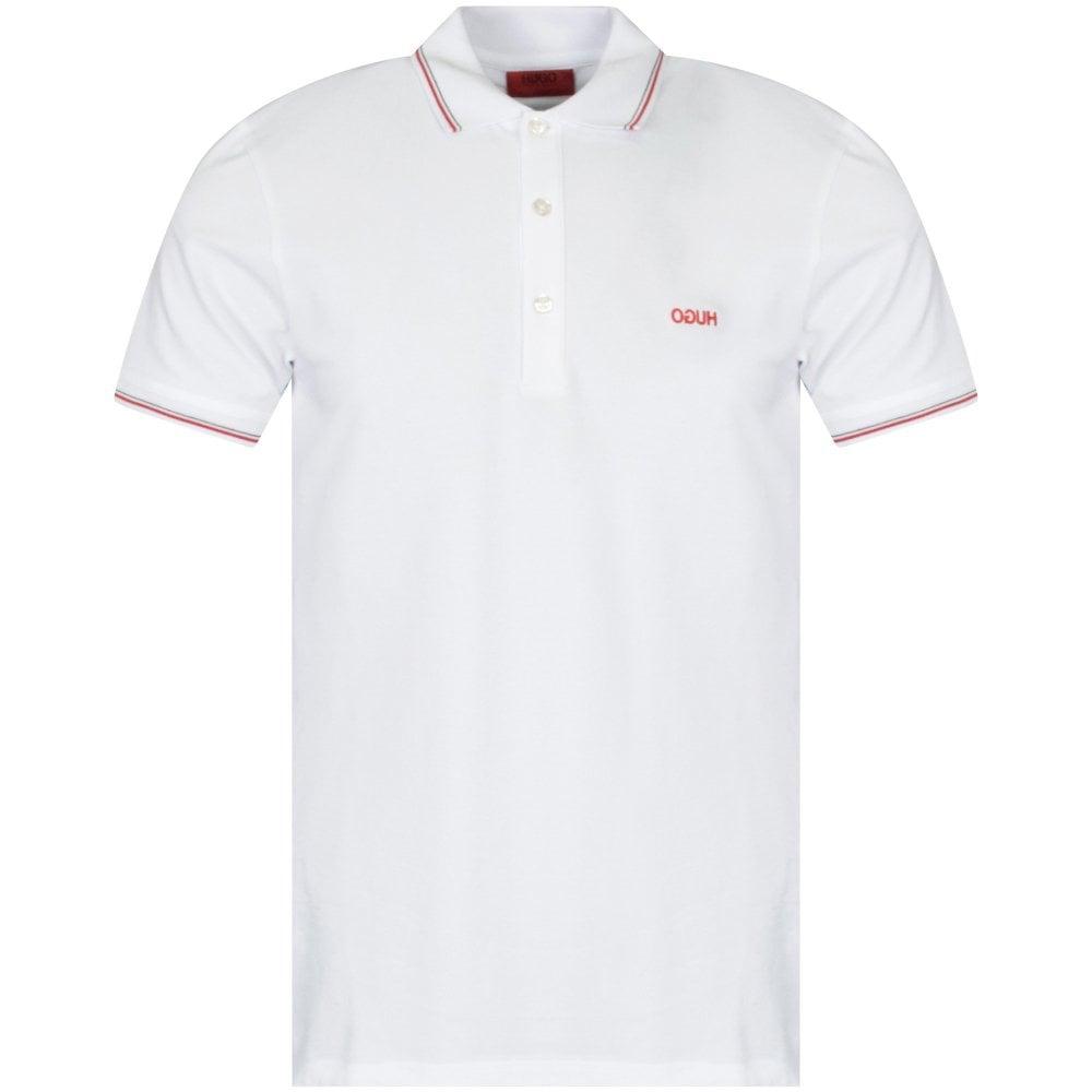 HUGO White/Red Dinoso Polo Shirt