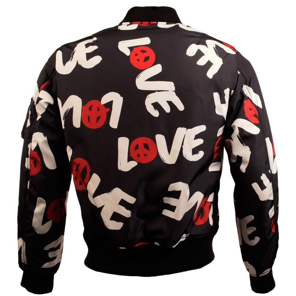 Love graffiti print bomber jacket unisex