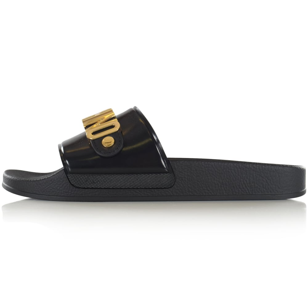 f578086d29530e LOVE MOSCHINO Moschino Logo Black Leather Pool Sliders - Footwear ...