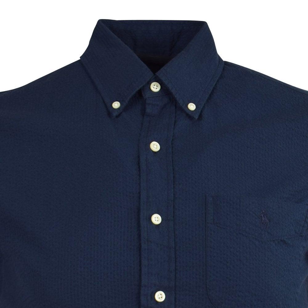 Polo Ralph Lauren Navy Cotton Seersucker Short Sleeve Shirt Men
