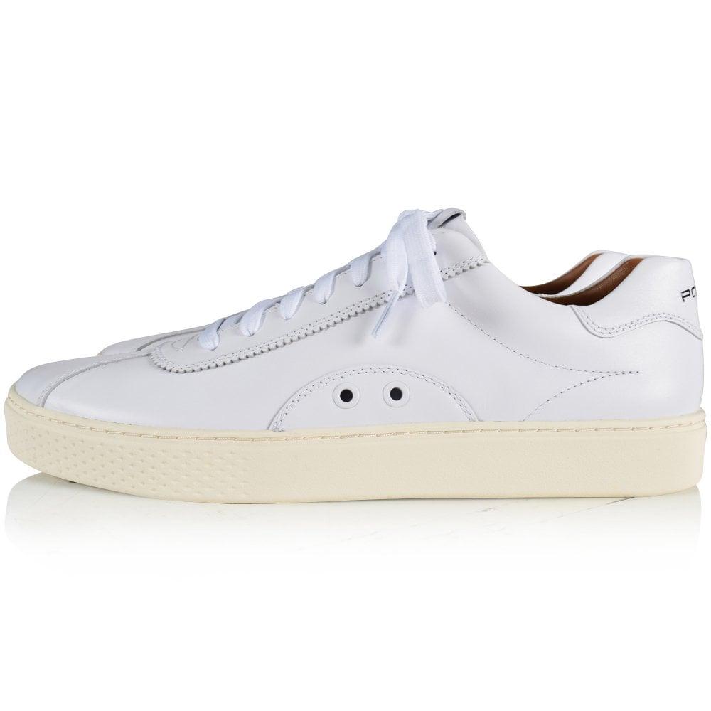 ralph lauren mens white leather sneakers