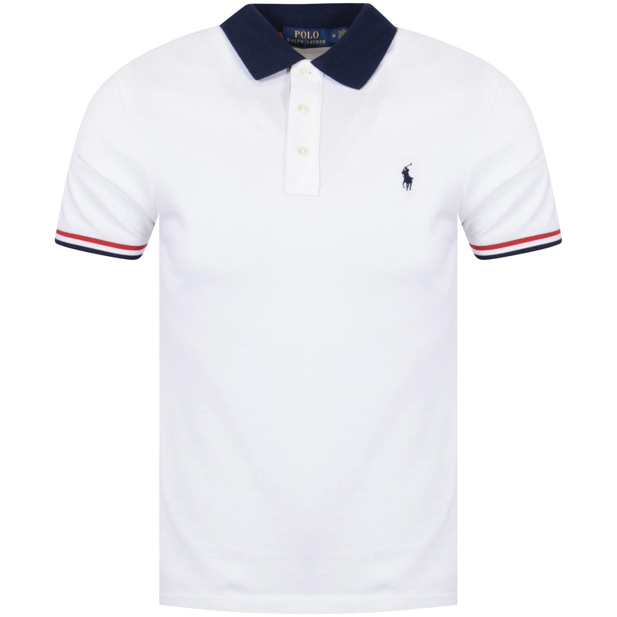 POLO RALPH LAUREN Polo Ralph Lauren White/Navy Contrast Polo Shirt