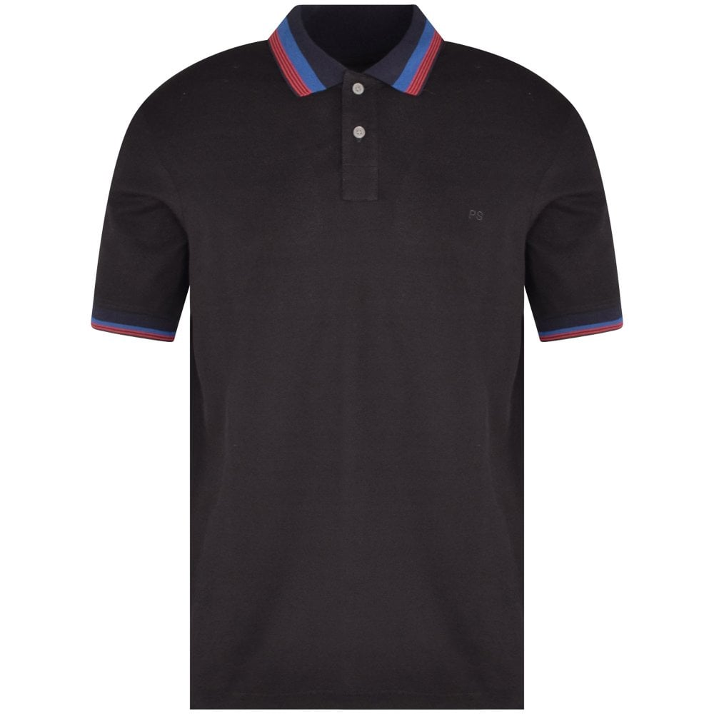 PS PAUL SMITH Black/Navy/Red Polo Shirt