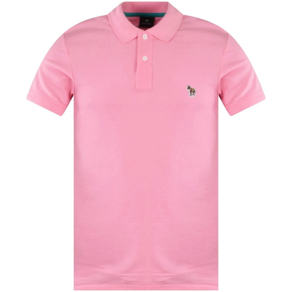 PS PAUL SMITH Pink Zebra Embroidered Polo Shirt