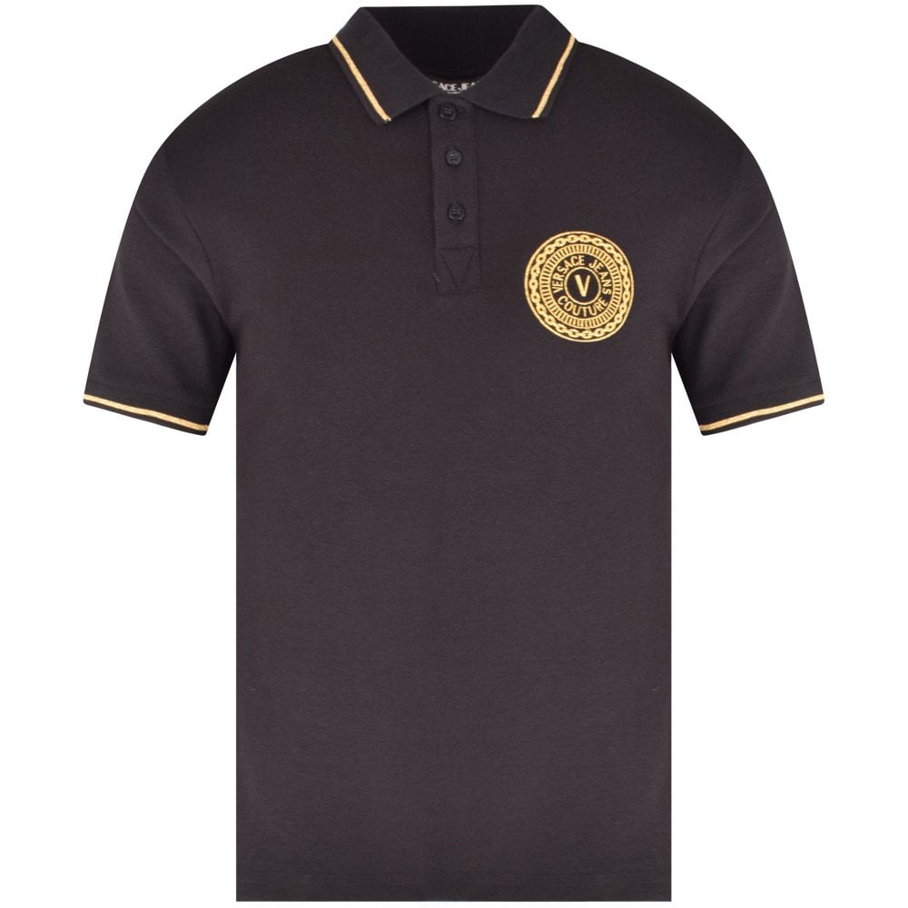 VERSACE JEANS Black/Gold Embroidered Polo Shirt
