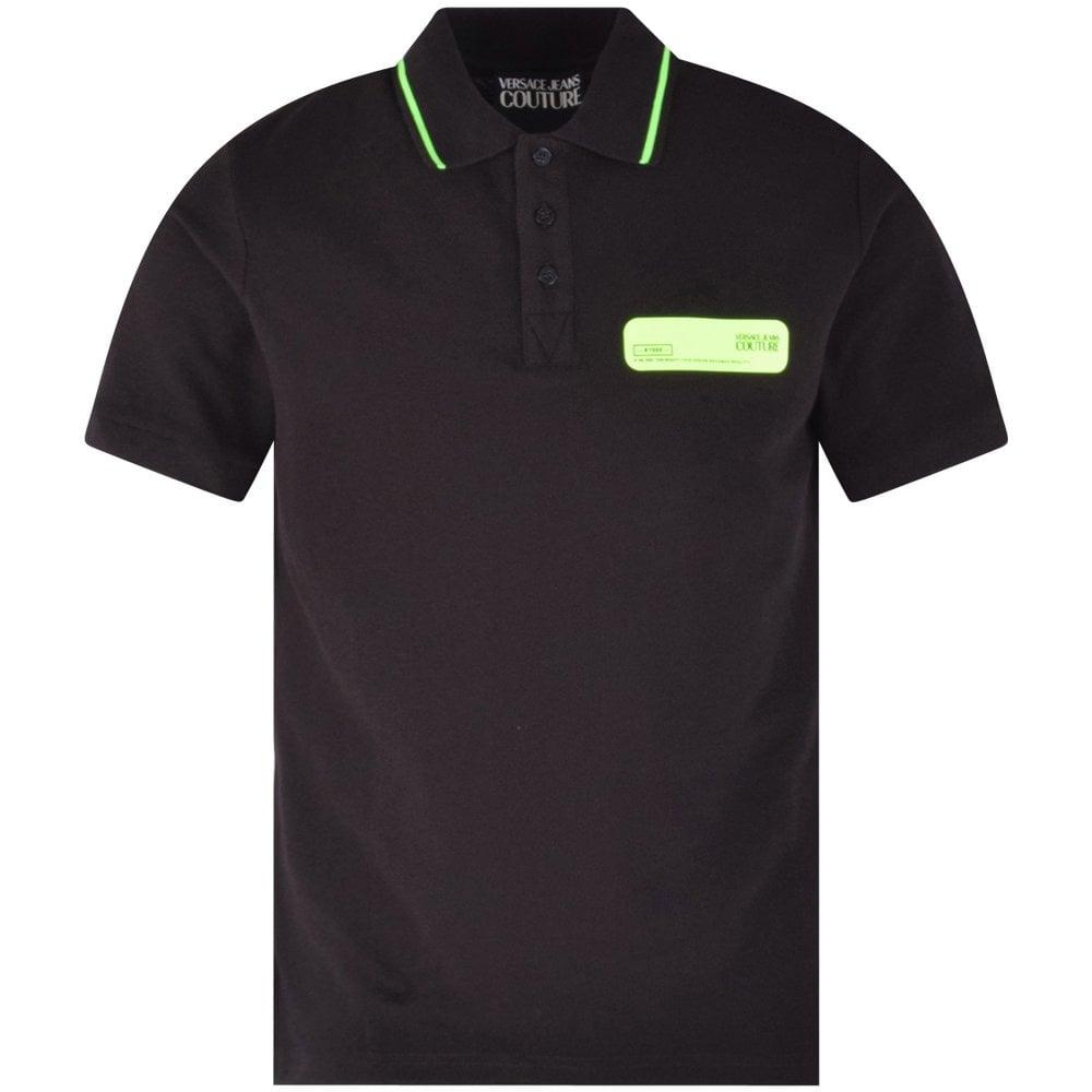 VERSACE JEANS Black/Neon Green Polo Shirt