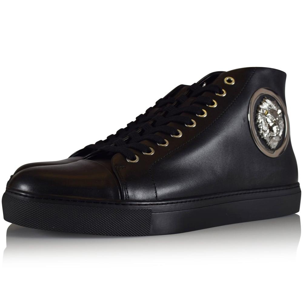 Versus Versace Black Leather Lion Logo